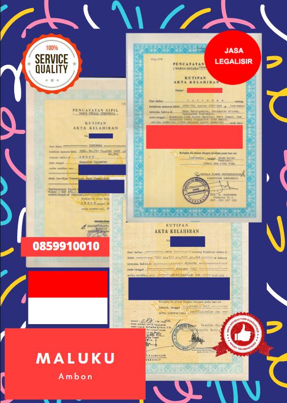 Jasa Legalisir Akta Lahir Indonesia Di Ambon - Indonesia || 08559910010