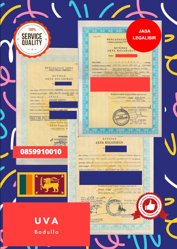 Jasa Legalisir Akta Lahir Indonesia Di Uva - Sri Lanka || 08559910010
