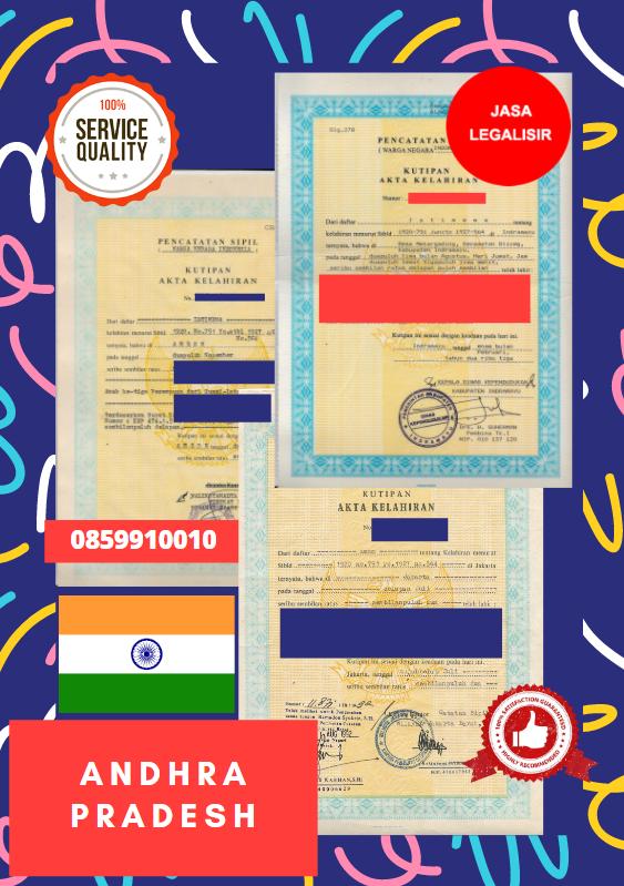 Jasa Legalisir Akta Lahir Indonesia Di Andhra Pradesh - India    08559910010