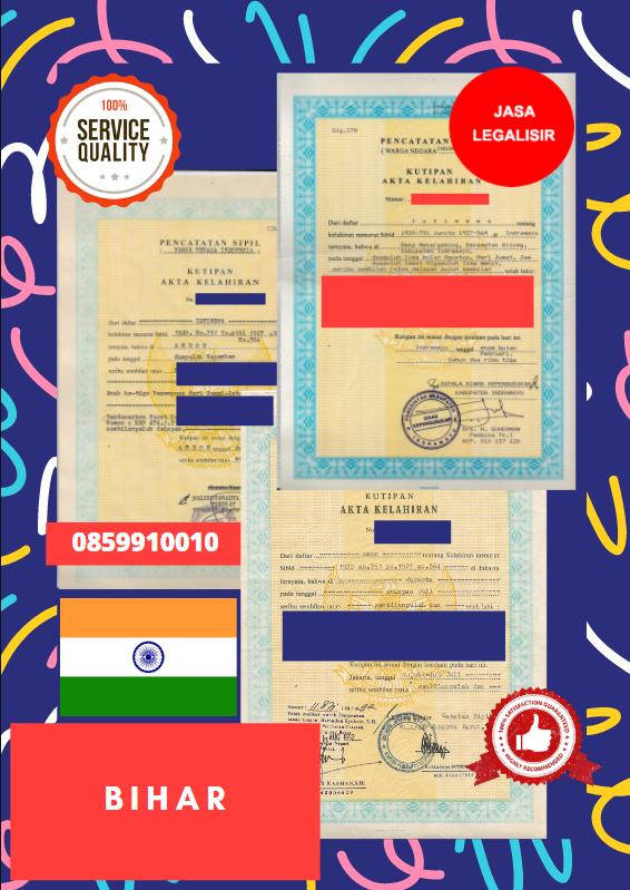 Jasa Legalisir Akta Lahir Indonesia Di Bihar - India    08559910010