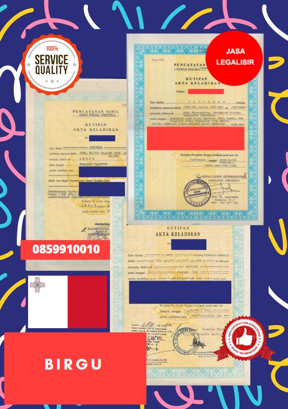 Jasa Legalisir Akta Lahir Indonesia Di Birgu - Malta    08559910010