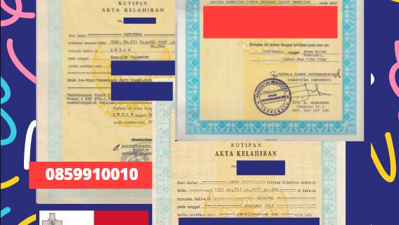 Jasa Legalisir Akta Lahir Indonesia Di Fgura – Malta    08559910010