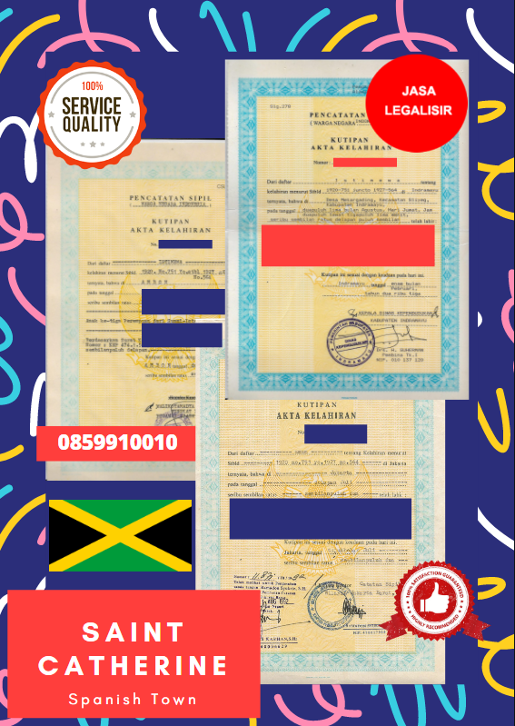 Jasa Legalisir Akta Lahir Indonesia Di Saint Catherine - Jamaika || 08559910010