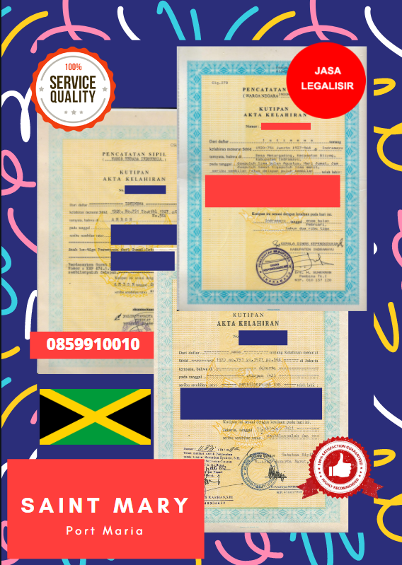 Jasa Legalisir Akta Lahir Indonesia Di Saint Mary - Jamaika || 08559910010