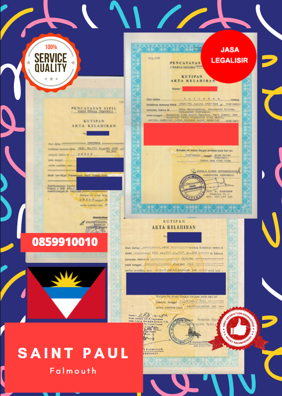 Jasa Legalisir Akta Lahir Indonesia Di Saint Paul - Antigua dan Barbuda || 08559910010