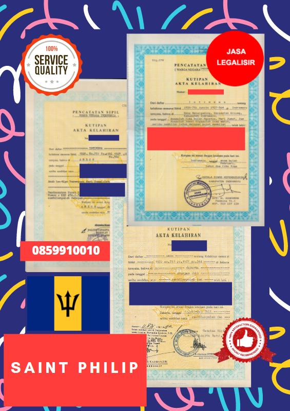 Jasa Legalisir Akta Lahir Indonesia Di Saint Philip - Barbados    08559910010